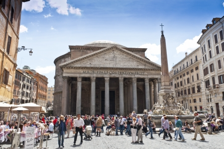 build in: ROME - APRIL 25: The Pantheon on April 25, 2012 in Rome, Italy. Pantheon is ancient temple build in 2nd century AD, located on Piazza della Rotonda, one of most popular tourist sights in Rome. Editorial