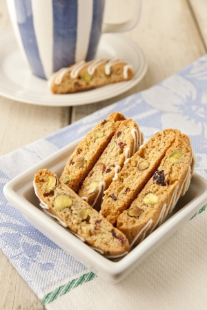 Biscotti  with pistachio and cranberry   selective focus, shallow dof photo