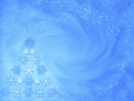 Background with Christmas tree made of snowflakes photo