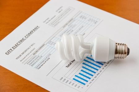 household money: Energy efficient CFL bulb on electric bill  Energy efficient house concept   selective focus