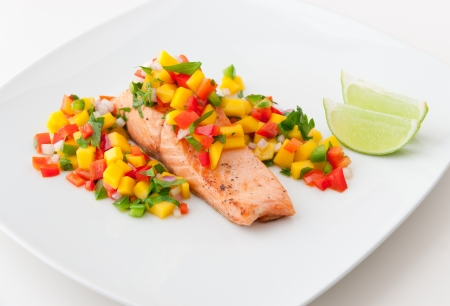 Salmon fillet with mango salsa, healthy eating  selective focus photo