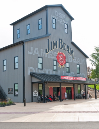 distillers: CLERMONT, KY  - OCTOBER 13:  Jim Beam Distillery at Clermont, KY on  October 13, 2012.  Jim Beam is a brand of Kentucky straight bourbon whiskey , one of seven distilleries along  Kentucky Bourbon Trail. Editorial