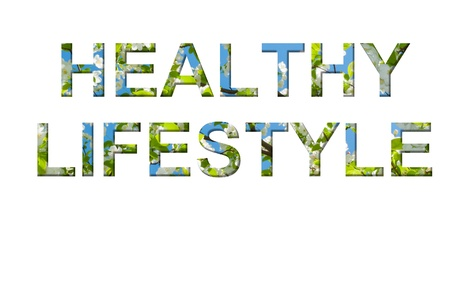 Healthy Lifestyle words made of my own photo of blossom tree  photo