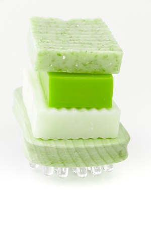 scincare: Natural handmade soap in green for spa