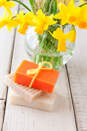 Handmade soap for spring cleaning  selective focus 스톡 콘텐츠