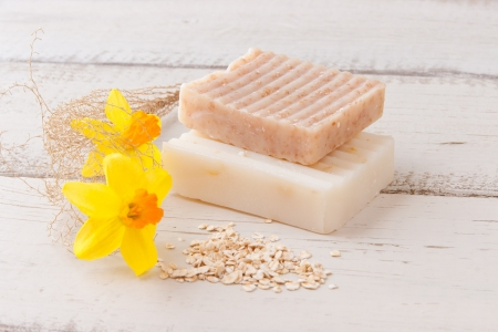 Natural handmade soap with oats for spa  selective focus photo
