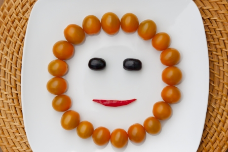 tomatos: Sunny face with yellow tomatos