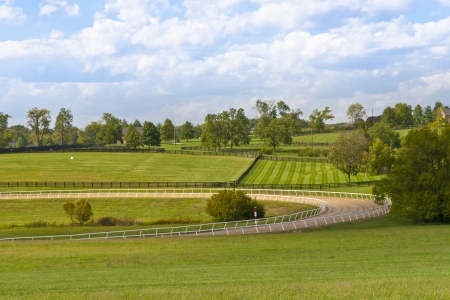Country scenery with horse training track photo