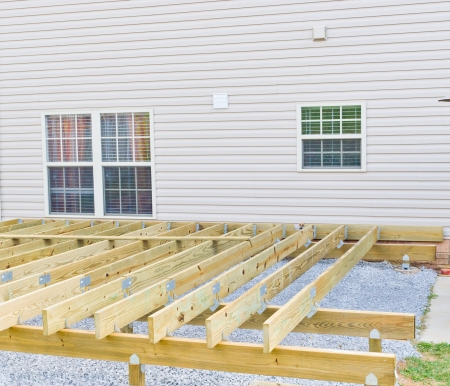 Building a new above ground deck, patio construction  photo