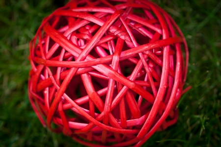 Red tangle ball macro texture background
