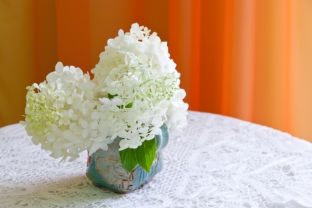 Bouquet of white hydrangea flowers on a table with copy space   selective focus, shallow dof photo