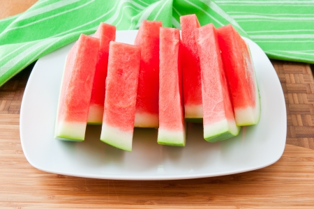 seedless: Seedless watermelon slices on a table  selective focus Stock Photo