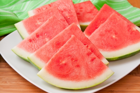 seedless: Seedless watermelon slices on a plate  selective focus