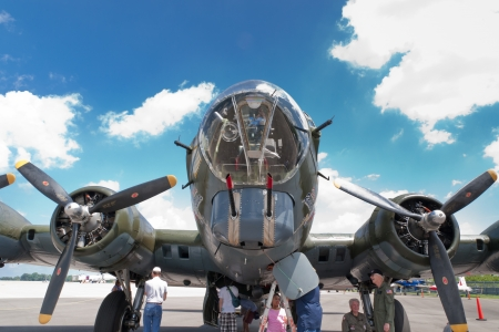 LEXINGTON,  KY,  USA  - JULY 20, 2013  Boeing B-17 bomber on display at the Aviation Museum of Kentucky in Lexington  The Boeing B-17 Flying Fortress is a four-engine heavy bomber aircraft developed in the 1930s for the United States Army Air Corps