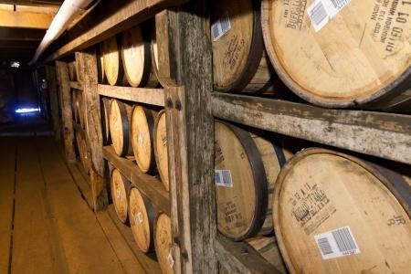 distillers: FRANKFORT, KENTUCKY, USA - JULY 20, 2013  Bourbon barrels aging in Buffalo Trace Distillery in Frankfort, KY on July  Buffalo Trace is a brand of Kentucky straight bourbon whiskey, one of seven distilleries along Kentucky Bourbon Trail  Editorial