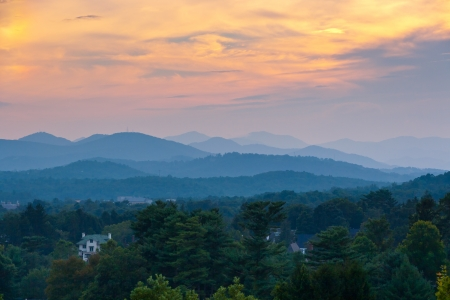 Beautiful sunset sky at the mountains landscape   Blue Ridge Mountains, North Carolina, USA photo