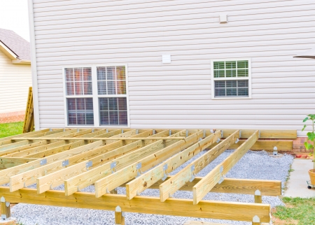 decking: Building a new above ground deck, patio construction. Stock Photo