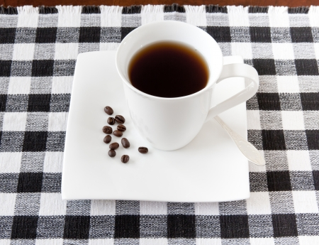 chicory coffee: Coffee cup and beans