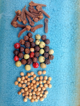 Collection of spices on blue glass plate - cloves rainbow peppercorns and coriander seeds.