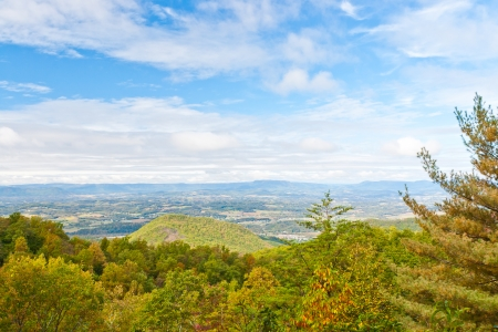 View of valley and forest mountain  Blue Ridge Parkway, USA  photo