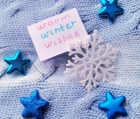 Warm winer wishes card with knitted background