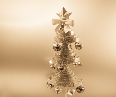 Christmas tree in golden antique filter photo