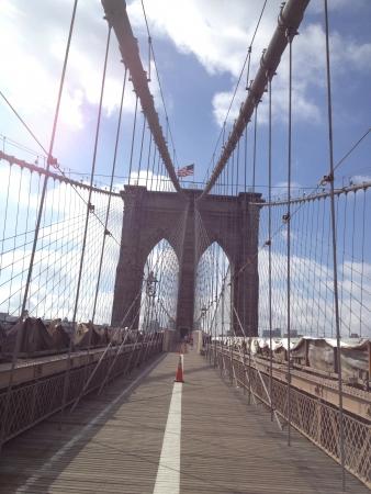 провода: Бруклинский мост пешеходной дорожки с рулонного рисунком мостов кабелей.