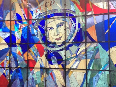tereshkova: Mosaic artwork of Valentina Tereshkova, the first woman in space Soviet cosmonaut  Yaroslavl Russia