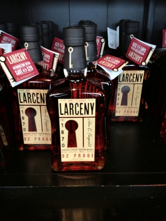 larceny: Larceny bourbon bottles on display at Heaven Hill Distillery Stock Photo