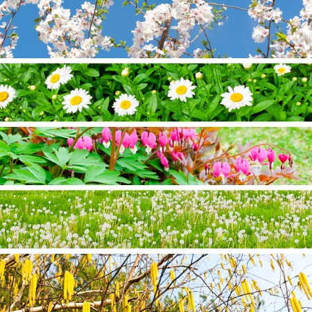 Spring Collage with 5 different pictures banners