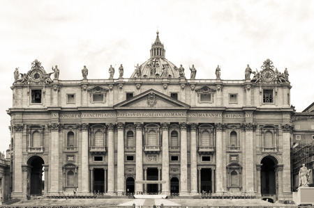 St  Peter Basilica in Vatican  photo in black and white tone Editorial