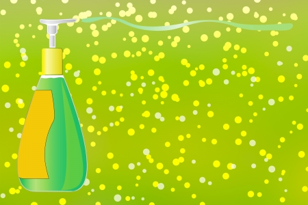 spring cleaning: Spring cleaning with dispenser pump bottle of liquid soap  Stock Photo