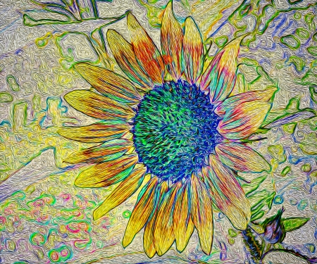 style: Art floral background in oil paint style with sunflower