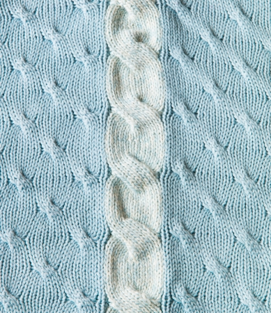 cable stitch: Blue and white knitting wool texture background Stock Photo