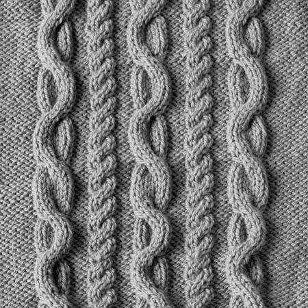 手作りグレー ウール テクスチャ背景の編み物 写真素材