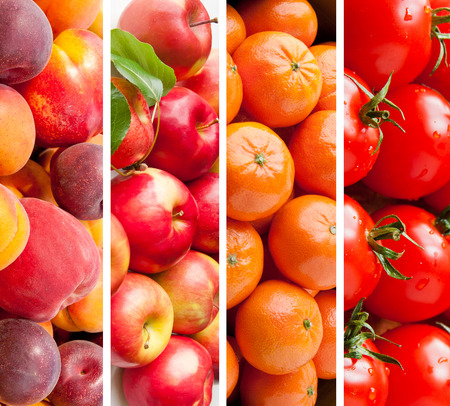 Set of various  fruits and vegetables, healthy food background photo