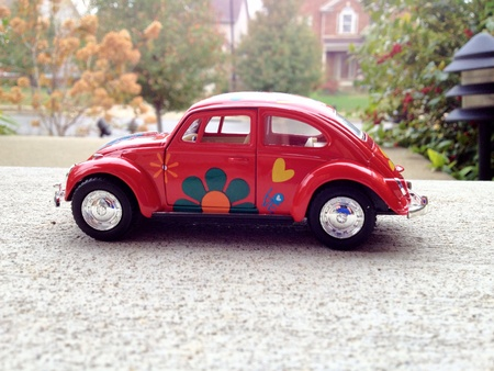 escaped: Toy car escaped to the road  Stock Photo