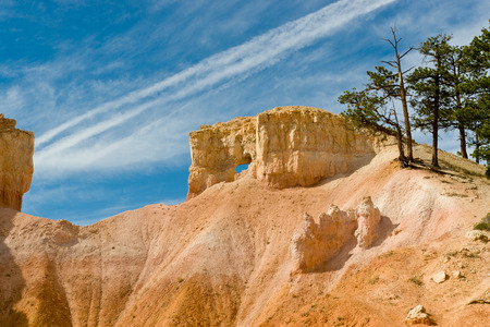 Beautiful rock formation against blue sky  photo