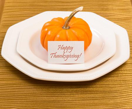 Autumn Thanksgiving dinner table setting with decorative pumpkin. Stok Fotoğraf