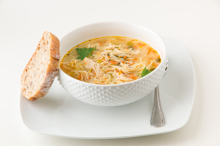 chicken noodle soup: Bowl of chicken noodle soup Stock Photo