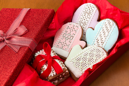 Christmas cookies in gift box