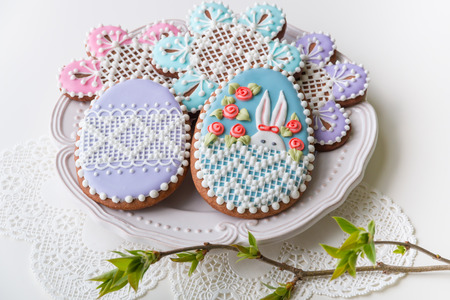peekaboo: Home-baked and decorated Easter cookies. selective focus Stock Photo