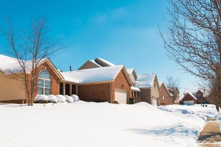Snowy street in american suburbs , winter scenery. photo