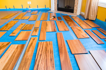 Preparation for installing planks of hardwood floor