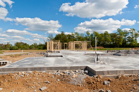 housebuilding: New residential construction home  with pre-installed water pipes and sewage Stock Photo