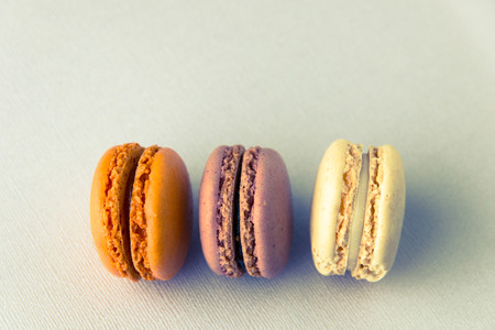 Close up of french sweet delicacy, macaroons colorful  variety in retro - vintage style. Selective focus, shallow dof.
