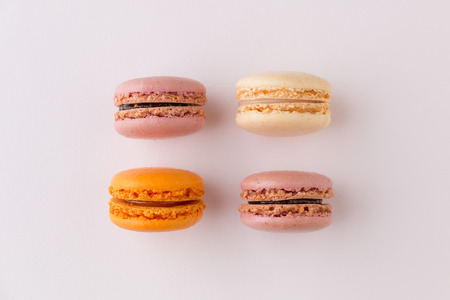 French sweet delicacy, macaroons colorful  variety, top view.