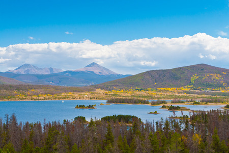 Serene view of lake  and mountains landscape in Colorado, USA
