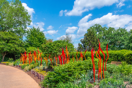 chihuly: ATLANTA, GA, USA -  APRIL, 23 2016: Exhibition of glass artist Chihuly takes place in the Atlanta Botanical Garden in Atlanta, Georgia in 2016. Editorial