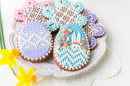 Home-baked and decorated Easter cookies. selective focus Stock Photo
